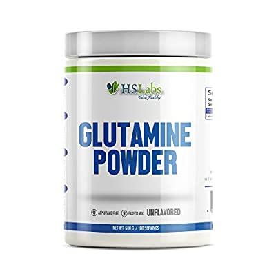 HSLabs L GLUTAMINE Powder 500g 300g 5000mg High Dose 100% Pure Neutral Unflavored Muscle Building Amino Acid Regeneration Weight Training Bodybuilding Fitness 60 and 100 Servings (500g)