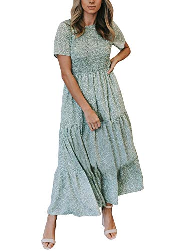 Zattcas Maxi Dresses for Women Casual Beach Boho Long Floral Summer Maxi Dress Light Green Large