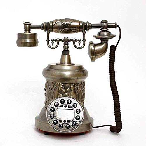qwertyuio Vintage Teléfono Metal Manos Libres Retroiluminado Antiguo Teléfono Retro Teléfono Fijo Antiguo Europeo