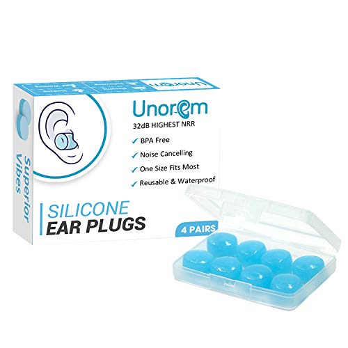 UNOREM Sleeping Earplugs - 32 dB Noise Blocking - Reusable Silicone Earplugs for Multiple Usages: Blocking Sounds, Swimming, Snoring, Concerts, Working, Shooting, Travel, Studying, Airplanes, Musician