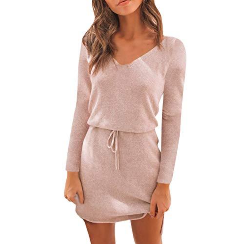 Fenverk Damen Elegant Pulloverkleid Tunika Kleid V-Ausschnitt Langarm Minikleid Sexy Oberteil Langarmshirts Herbst Sweatshirt T-Shirt Tops(Rosa,XL)