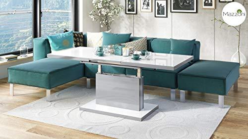 Design Couchtisch Tisch Aston Weiß Hochglanz/Silber Metallic stufenlos höhenverstellbar ausziehbar 120 bis 200cm Esstisch