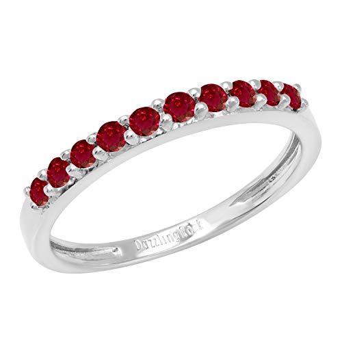Dazzlingrock Collection - Alianza de boda de aniversario para mujer, diseño de piedras preciosas, oro blanco de 14 quilates