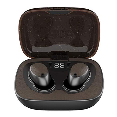 Wsaman Auriculares Deportivos, Cascos In-Ear Running Estéreo Auricular Earbuds Reducción de Ruido Deportivos con Caja de Carga para Teléfono/Celular/Running,Marrón