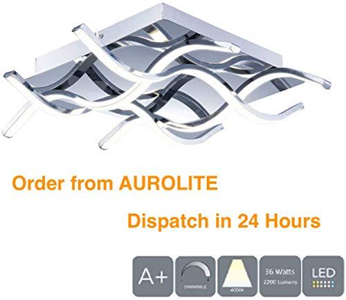 AUROLITE 4 LED half bumperige plafondlamp, gepolijst chroom-afwerking, 36 watt, 2500 lumen, natuurlijk wit (4000 K), dimbaar, ideaal voor woonkamer, slaapkamer, keuken, hal, hotel, B & B, vierkant
