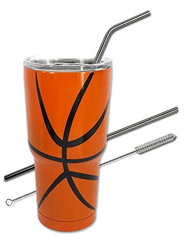Basketball Tumbler Cup 30 oz with Lid, Straw and Cleaner