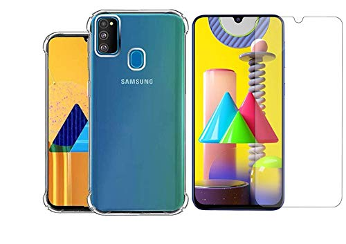 Jagadhatri Soft Transparent Back Cover and Tempered Glass Combo for Samsung Galaxy M21