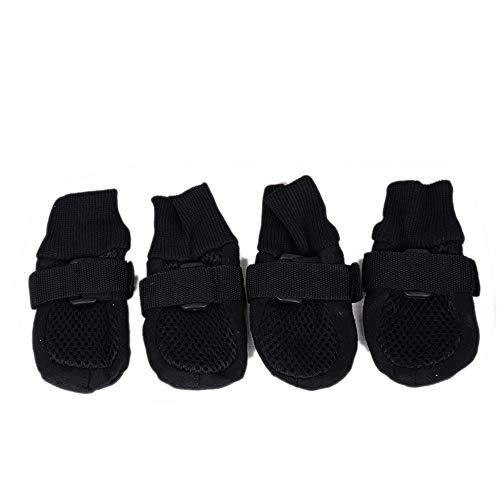 HNZZ TMRTCGY Der Schutz Hundefüß Bequeme Breathable weiche Unterseite Big Dog Schuhe gehende Haustier-Schuhe Sommer Netto-Schuhe (Color : Black, Size : L)