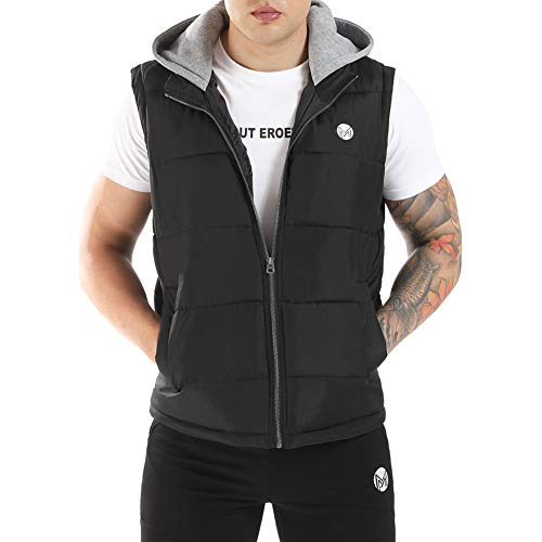SSDXY Men Hooded Zipper Sleeveless Vest Jacket Coat Casual Winter Warm Outwear Quilted Thicken Puffer with Hood Red