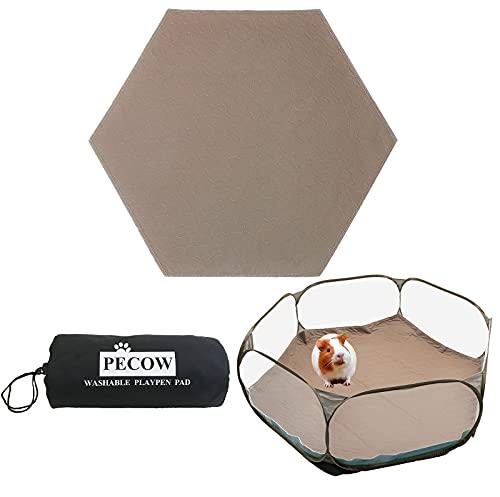 Pecow Hexagon Washable Liner for Portable Small Animal Playpen Guinea Pig Play Pen Hamster Cage Fleece Bunny Carrier Indoor/Outdoor Rabbit Tent Waterproof Reusable Super Absorbent(Pee Pad Only,Brown)