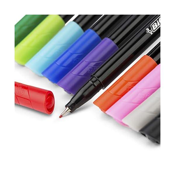 BIC Intensity Fine rotuladores punta fina (0,8 mm) – colores Surtidos, Blíster de 4 unidades