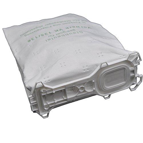 12 Staubsaugerbeutel aus Vlies passend für Vorwerk - Kobold 135/136 / 135SC / VK135 / VK136 (Wei)