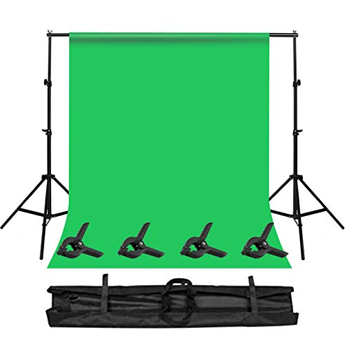 LGN Heavy Duty Stand Stand Photo Video Studio 10 x 10ft Photography Backdrop Stand with Green Photo Backdrop and 4 Clamps Green Screen Backdrop with Stand Kit for Video Photography Studio