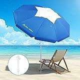 Brace Master Wind Resisitance Beach Umbrella, 6.5ft Sand Anchor with Tilt Aluminum Pole, Portable UV 100+ Protection Sand Umbrella with Carry Bag for Outdoor Patio, Dark Blue