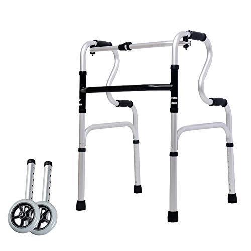 ZCPDP frame opvouwbaar met rollator, zeer licht, met twee wielen en zitting, in hoogte verstelbaar, roestvrij staal, geschikt voor oudere mensen