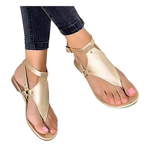 riou Sandalias Mujer Verano 2021 de Gladiador de Cristal Roma Zapatos,Zapato Casuales...