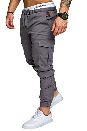 Amaci&Sons Jogger Cargo Herren Chino Jeans Hose 7001 Dunkelgrau W30