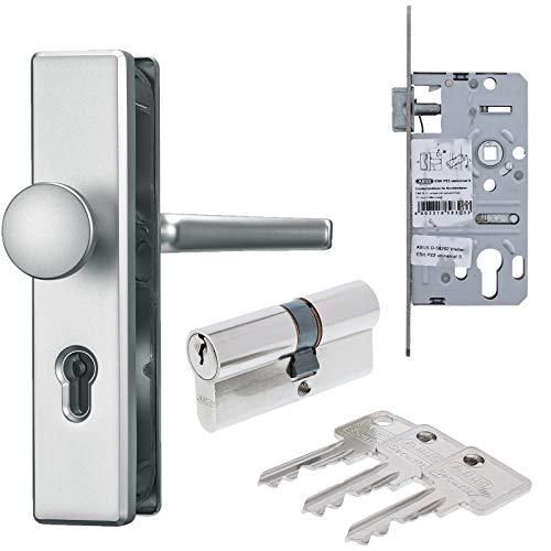 ABUS Türbeschlag Set aus Schutz-Wechselgarnitur DR/KN silber Einsteckschloss Türzylinder C73 30/30 mm inkl. 3 Schlüssel als Grundausstattung für Wohnungseingangstür