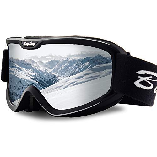 BangLong Skibrill, Snowboard Brille für Brillenträger Herren Damen Schneebrille OTG UV-Schutz Anti Fog Skibrillen für Wintersportarten, Skifahren, Skaten (Black/Sliver)
