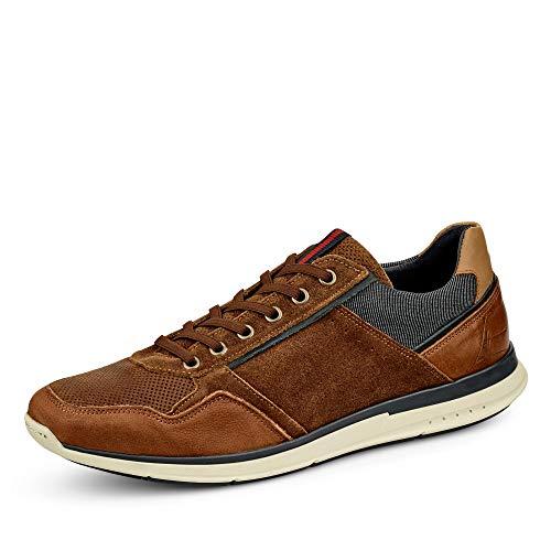 BULLBOXER 630K26718ACGNASU00 Herren Sneaker aus Veloursleder mit Lederbesätzen, Groesse 41, Cognac