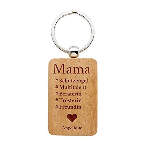 Gravado Schlüsselanhänger aus Holz mit Gravur Hashtag Mama, Personalisiert mit Namen, Mit Herz Symbol, Damen Accessoire