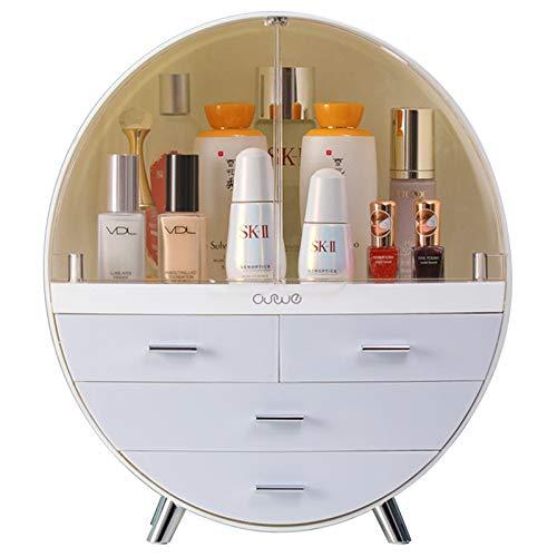 Large Makeup Organizer Desktop Dust-proof Cosmetic Storage Box Easily Organize Your Cosmetics Suitable for Vanity Bathroom Wash Basin (Grey)
