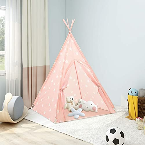 Festnight Tipi Infantil Tienda, Tipi Indio para Niños, Interior/Exterior Tienda Campaña para Niños, Carpa Tipi para Niños (Rosa)
