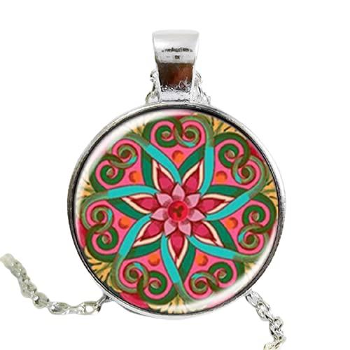 Mandala loto collar colorido henna yoga colgante y collares de cristal cabujón declaración joyería om símbolo budista zen