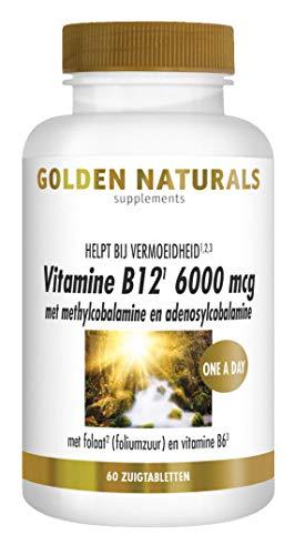 Golden Naturals Vitamine B12 6000 mcg (60 veganistische zuigtabletten)