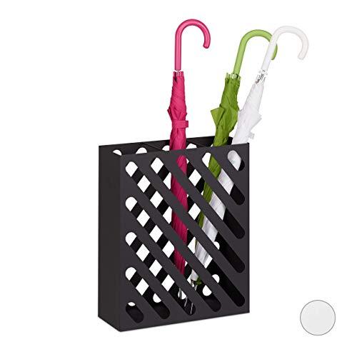 Relaxdays Parapluie XL, Porte-Cannes rectangulaire, Acier, Portable, 48 x 40 x 15 cm, Noir
