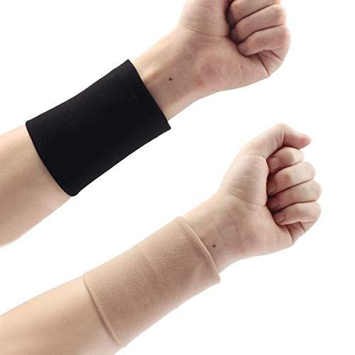 1 accoppiamento del Nero della Pelle Tatuaggio del Cover Up Compressione Maniche polsiere Tatuaggio di Occultamento Scar Concealer Supporto UV Protegge Palestra di Sport (Color : Black L)