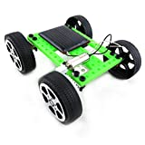 Mini giocattolo di plastica a mano ad energia solare Kit per auto fai da te Tecnologia per bambini Gadget educativo Hobby Kit divertente 8-11 Età, nero e verde