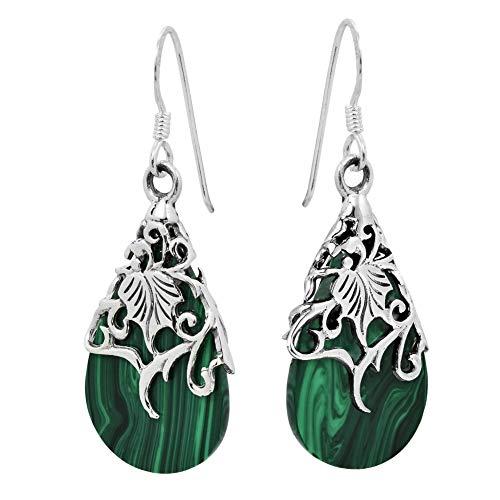 JINGM Vintage Vert Goutte d'eau Bande Longue Pendants Pendants Boucles d'oreilles pour Les Femmes Mariage Mariée Boucles d'oreilles Goutte Bijoux en Argent