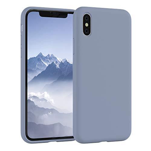 EAZY CASE Premium Silikon Handyhülle kompatibel mit Apple iPhone X/XS, Slimcover mit Kameraschutz & Innenfutter, Silikonhülle, Schutzhülle, Bumper, Handy Case, Hülle, Softcase, Eisblau, Blau