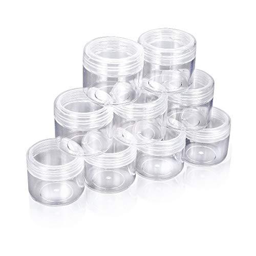 HugeStore 10 Stück 20 Gramm Klar Leer Kunststoff Nailart Döschen Dosen Aufbewahrung Tiegel Kosmetische Behälter mit Schraubverschluss Klar