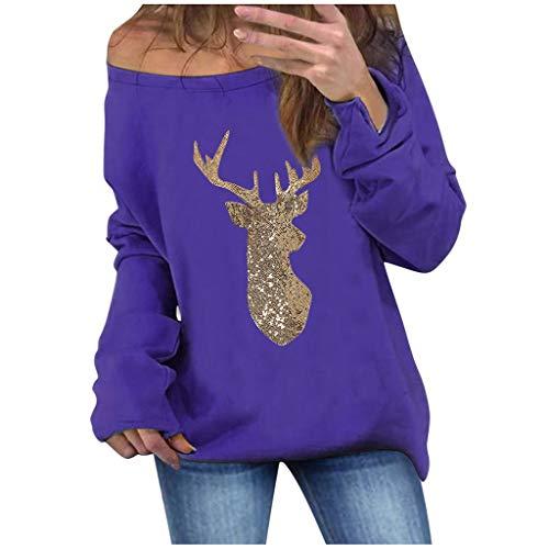 Vrouwen Een Schouder Kerst T-Shirt Top Dames Lange Mouw Xmas Elk Pailletten Patchwork Pullover Tuniek Casual Blouse Kleding