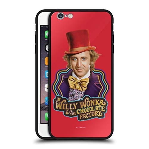 Head Case Designs Ufficiale Willy Wonka And The Chocolate Factory Gene Wilder Grafiche Cover Nera Ibrida in Vetro per Parte Posteriore Compatibile con Apple iPhone 6 Plus/iPhone 6s Plus