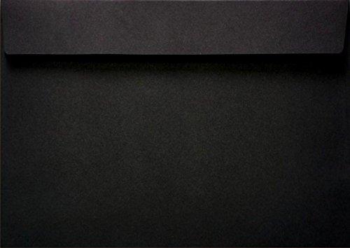 25 Schwarz DIN C5 Briefumschläge haftklebend ohne Fenster 162x229mm 120g Burano Nero festliche Umschläge C5 Schwarz für Geburtstag Weihnachten Hochzeit Einladungen Grußkarten Danksagungskarten