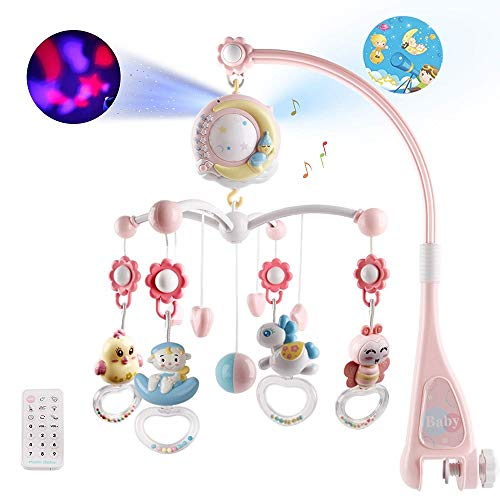 OtotaCam ベッドメリー ベビーベッドおもちゃ 赤ちゃんメリー ベッドオルゴール 360回転 音楽 投影 リモコン付