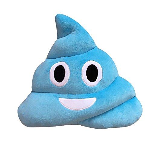 Longra®‒Cojín de emoticono divertido, corazón, ojos, caca, muñeca, etc., Blue B, 20 cm
