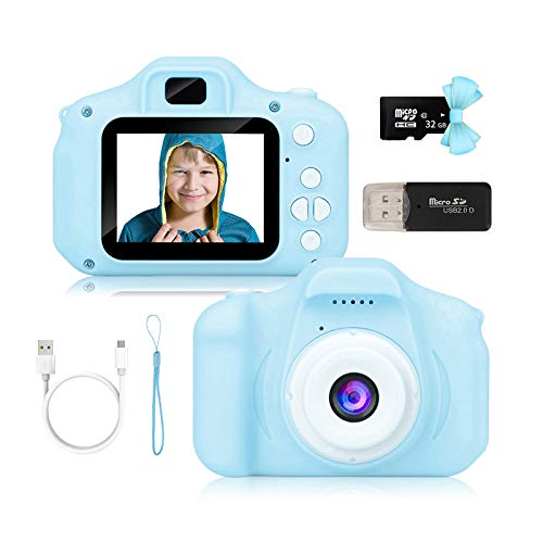 Kids Camera for Boys and Girls, Digital Camera Toy Gifts Ideas for Birthday and Christmas,Rechargeable Kids Video Camera Recorder,Portable Toy for Age 2 to 10 Years Old with 32GB Memory Card (Blue)