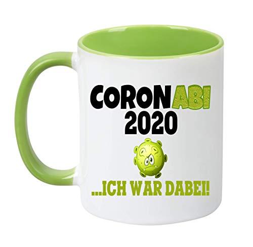 TassenTicker - Coronabi 2020, ich war dabei - Abi - Geschenk zum Abitur - Geschenkidee - Spühlmaschinenfest - Tasse zum Abitur - verschenken (Grün)