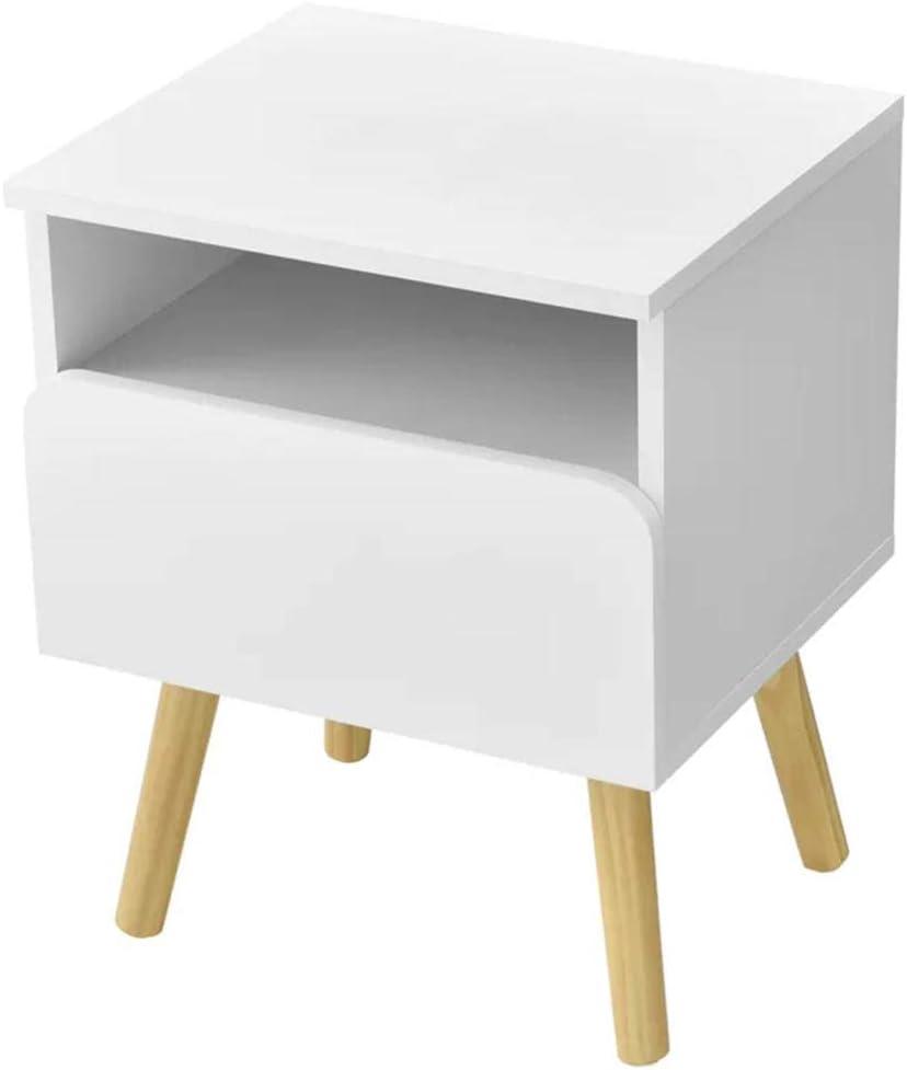BAKAJI Mesita de noche para dormitorio, mueble con cajón + estante abierto, diseño moderno escandinavo, de madera MDF y 4 patas, color natural, decoración para el hogar, tamaño: 40 x 33,5 x 50 cm
