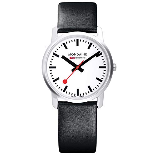 Mondaine Watch for Men and Women Swiss Railways 36 mm Ultra Flat Case (A400.30351.11SBB): Handmade in Switzerland + 30 Meter Water Resistant + Black Leather Band