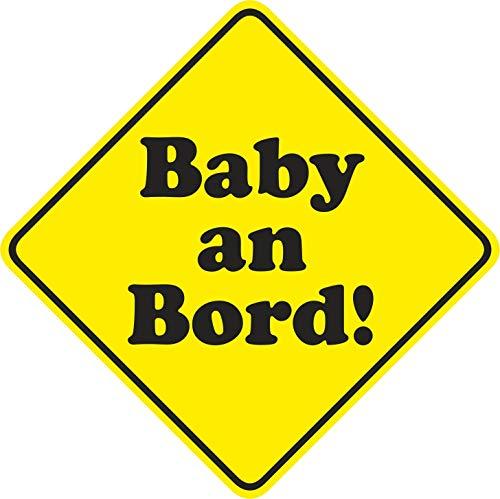 Auto-Magnetschild Baby an Bord neutral I 15 x 15 cm I Magnet-Schild für Kfz I Hinweis-Schild viereckig Raute I magnetisch, wetterfest I kfz_530