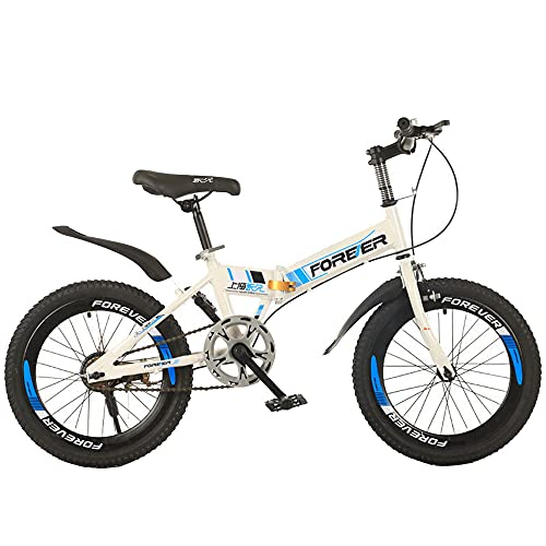 Axdwfd Infantiles Bicicletas Bicicleta Plegable De 18/20 Pulgadas, Bicicleta Absorbente De Golpes, Adecuada para Niños Y Niñas De 7 A 14 Años.(Size:18in,Color:Blanco)
