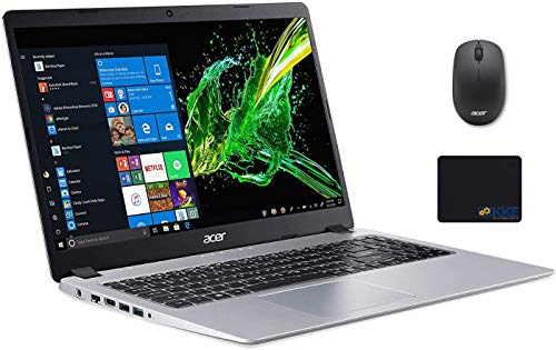 "Acer Aspire 5 Laptop, 15.6"" Full HD Screen, AMD Ryzen 5-3500U Processor up to 3.7GHz, 16GB RAM, 1TB SSD, Webcam, Wireless-AC, HDMI, Win 10 Home, Silver, Wireless Mouse, KKE Mousepad"