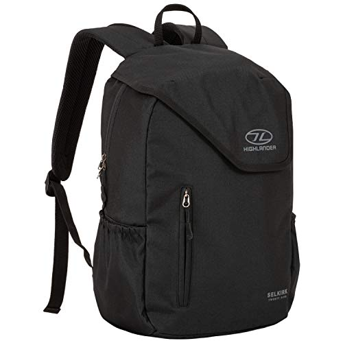 Highlander 25L Daysack – Water Resistant Backpack Ideal for Carry on Luggage, Commuting, School College University and Hiking – The Selkirk Daypack (Black)
