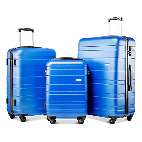 Set of 3 Light Weight Hardshell 4 Wheel Travel Trolley Suitcase Luggage Set Holdall Case-20/24/28 Inch,Blue