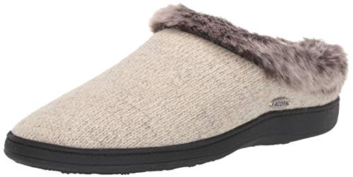 Acorn Women's Faux Fur Chinchilla Ragg Clog Slippers, charcoal heather, 6.5-7. 5